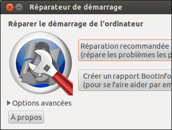 BOOT REPAIR avec un CD ou une clé USB