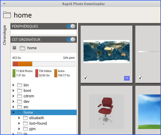 Outils de gestion Photos : Rapid Photo Downloader